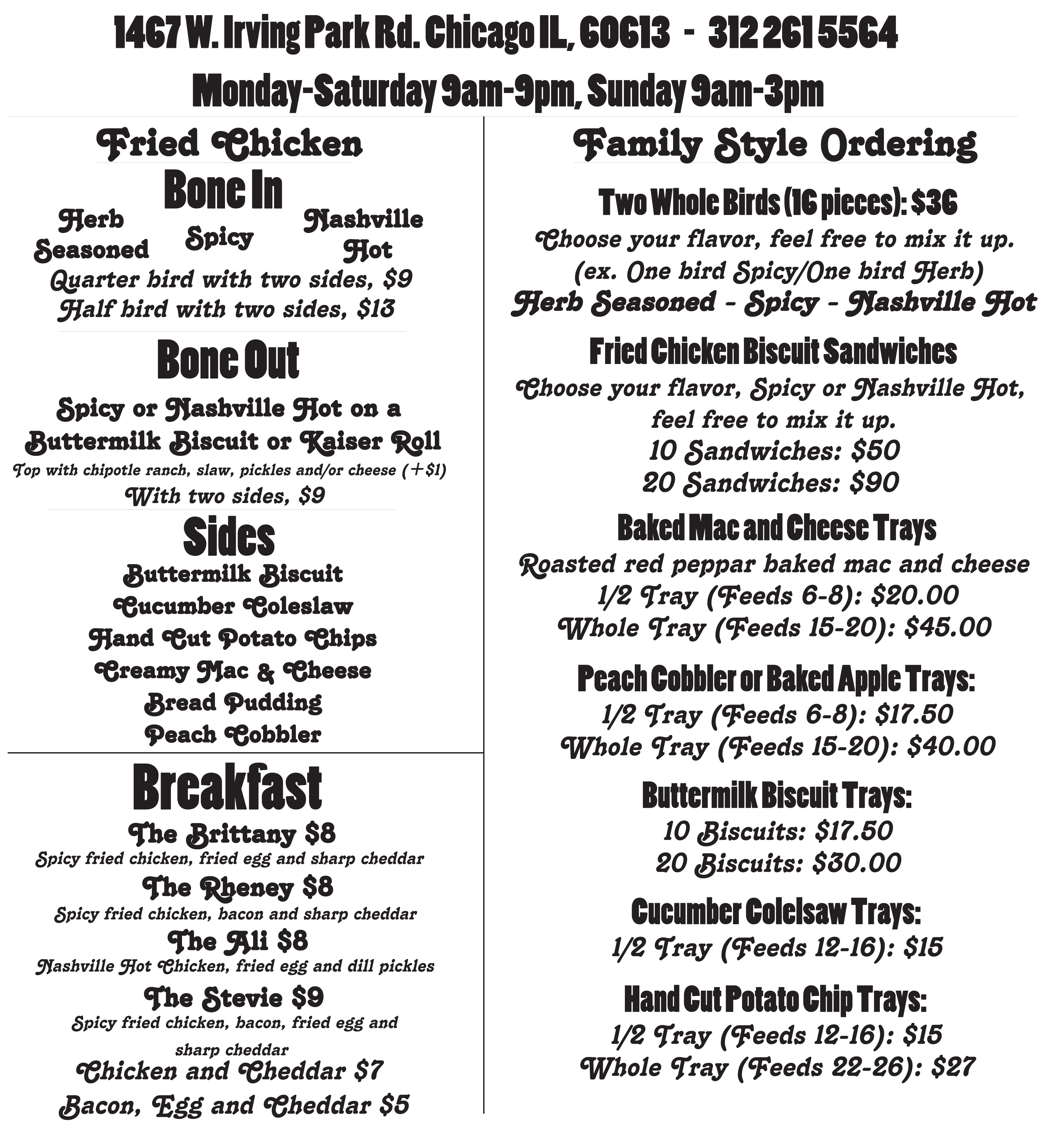 during peak business hours we may not be able to accept large family style orders - Carolina Kitchen Menu